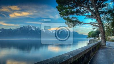 Постер Альпийский пейзаж Женевское озеро Утро HDRАльпийский пейзаж<br>Постер на холсте или бумаге. Любого нужного вам размера. В раме или без. Подвес в комплекте. Трехслойная надежная упаковка. Доставим в любую точку России. Вам осталось только повесить картину на стену!<br>