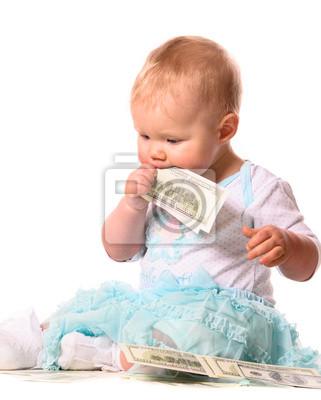 Постер Ребенок ест деньгиДети<br>Постер на холсте или бумаге. Любого нужного вам размера. В раме или без. Подвес в комплекте. Трехслойная надежная упаковка. Доставим в любую точку России. Вам осталось только повесить картину на стену!<br>