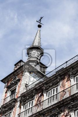 Фасадом и балконами на Palza Mayor,Мадрид,Испания, 20x30 см, на бумагеМадрид<br>Постер на холсте или бумаге. Любого нужного вам размера. В раме или без. Подвес в комплекте. Трехслойная надежная упаковка. Доставим в любую точку России. Вам осталось только повесить картину на стену!<br>