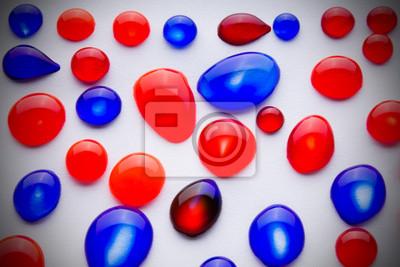 Постер Капли Красные и синие капли чернилКапли<br>Постер на холсте или бумаге. Любого нужного вам размера. В раме или без. Подвес в комплекте. Трехслойная надежная упаковка. Доставим в любую точку России. Вам осталось только повесить картину на стену!<br>
