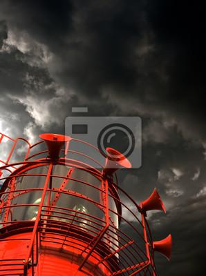 Постер Ураган, буря, торнадо Красный lightship с туманом рога против грозовые облакаУраган, буря, торнадо<br>Постер на холсте или бумаге. Любого нужного вам размера. В раме или без. Подвес в комплекте. Трехслойная надежная упаковка. Доставим в любую точку России. Вам осталось только повесить картину на стену!<br>