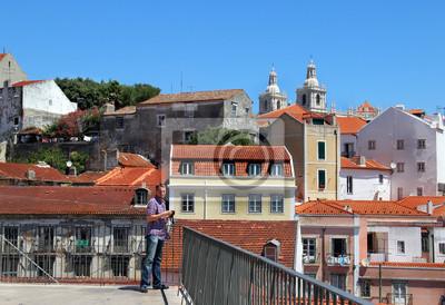 Постер Лиссабон Красивый вид города Лиссабон, ПортугалияЛиссабон<br>Постер на холсте или бумаге. Любого нужного вам размера. В раме или без. Подвес в комплекте. Трехслойная надежная упаковка. Доставим в любую точку России. Вам осталось только повесить картину на стену!<br>