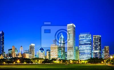 Постер Чикаго Downtown Chicago, IL вечеромЧикаго<br>Постер на холсте или бумаге. Любого нужного вам размера. В раме или без. Подвес в комплекте. Трехслойная надежная упаковка. Доставим в любую точку России. Вам осталось только повесить картину на стену!<br>