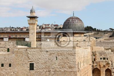 Постер Иерусалим Аль-Акса-мечеть и минарет. ИерусалимИерусалим<br>Постер на холсте или бумаге. Любого нужного вам размера. В раме или без. Подвес в комплекте. Трехслойная надежная упаковка. Доставим в любую точку России. Вам осталось только повесить картину на стену!<br>