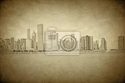 Постер Чикаго Старый Чикаго - Vintage DesignЧикаго<br>Постер на холсте или бумаге. Любого нужного вам размера. В раме или без. Подвес в комплекте. Трехслойная надежная упаковка. Доставим в любую точку России. Вам осталось только повесить картину на стену!<br>
