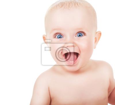 Счастливые, улыбающиеся ребенок, с голубыми глазами, 22x20 см, на бумагеДети<br>Постер на холсте или бумаге. Любого нужного вам размера. В раме или без. Подвес в комплекте. Трехслойная надежная упаковка. Доставим в любую точку России. Вам осталось только повесить картину на стену!<br>
