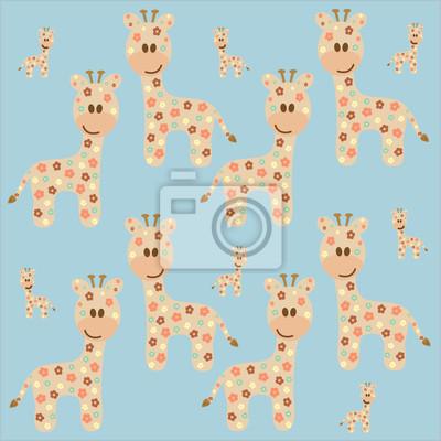 Постер Дизайнерские обои для детской Бесшовный фон с жирафДизайнерские обои для детской<br>Постер на холсте или бумаге. Любого нужного вам размера. В раме или без. Подвес в комплекте. Трехслойная надежная упаковка. Доставим в любую точку России. Вам осталось только повесить картину на стену!<br>