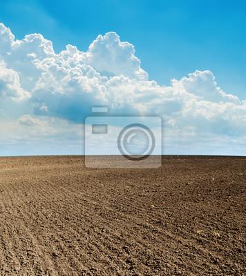 Постер Пейзаж равнинный Голубое облачное небо и черное вспаханное полеПейзаж равнинный<br>Постер на холсте или бумаге. Любого нужного вам размера. В раме или без. Подвес в комплекте. Трехслойная надежная упаковка. Доставим в любую точку России. Вам осталось только повесить картину на стену!<br>