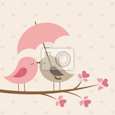 Постер Дизайнерские обои для детской Птицы под зонтиком. Романтичная карточкаДизайнерские обои для детской<br>Постер на холсте или бумаге. Любого нужного вам размера. В раме или без. Подвес в комплекте. Трехслойная надежная упаковка. Доставим в любую точку России. Вам осталось только повесить картину на стену!<br>