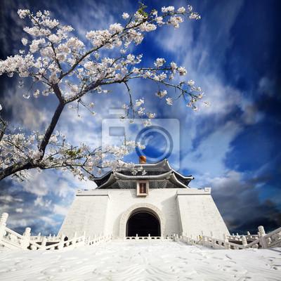 Чан Кайши мемориальный зал в Тайване в красивый цветок сакуры, 20x20 см, на бумагеКитай<br>Постер на холсте или бумаге. Любого нужного вам размера. В раме или без. Подвес в комплекте. Трехслойная надежная упаковка. Доставим в любую точку России. Вам осталось только повесить картину на стену!<br>
