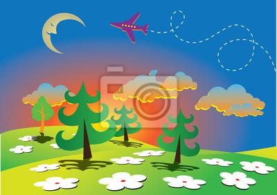 Постер Дизайнерские обои для детской Весной мультфильм пейзаж с лунойДизайнерские обои для детской<br>Постер на холсте или бумаге. Любого нужного вам размера. В раме или без. Подвес в комплекте. Трехслойная надежная упаковка. Доставим в любую точку России. Вам осталось только повесить картину на стену!<br>