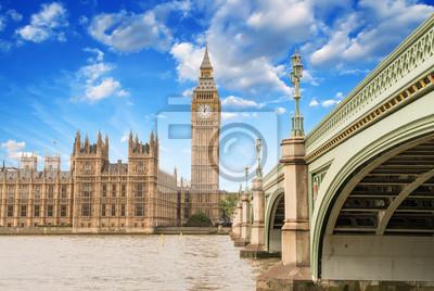 Постер Англия Пейзаж Биг Бен, и Вестминстерский дворец с Моста и ТАнглия<br>Постер на холсте или бумаге. Любого нужного вам размера. В раме или без. Подвес в комплекте. Трехслойная надежная упаковка. Доставим в любую точку России. Вам осталось только повесить картину на стену!<br>