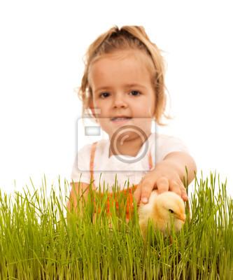 Постер Девочка ловила пушистого цыпленка в траве - изолированныеДети<br>Постер на холсте или бумаге. Любого нужного вам размера. В раме или без. Подвес в комплекте. Трехслойная надежная упаковка. Доставим в любую точку России. Вам осталось только повесить картину на стену!<br>