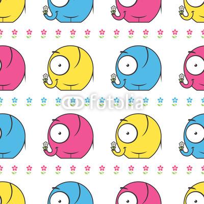Постер Дизайнерские обои для детской Бесшовные текстуры с мультфильм слонов и цветы. ВекторДизайнерские обои для детской<br>Постер на холсте или бумаге. Любого нужного вам размера. В раме или без. Подвес в комплекте. Трехслойная надежная упаковка. Доставим в любую точку России. Вам осталось только повесить картину на стену!<br>