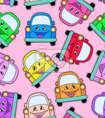 Постер Дизайнерские обои для детской Модель симпатичная автомобилейДизайнерские обои для детской<br>Постер на холсте или бумаге. Любого нужного вам размера. В раме или без. Подвес в комплекте. Трехслойная надежная упаковка. Доставим в любую точку России. Вам осталось только повесить картину на стену!<br>