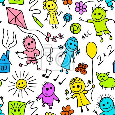Постер Дизайнерские обои для детской Играющие дети красочные бесшовных шаблон.Дизайнерские обои для детской<br>Постер на холсте или бумаге. Любого нужного вам размера. В раме или без. Подвес в комплекте. Трехслойная надежная упаковка. Доставим в любую точку России. Вам осталось только повесить картину на стену!<br>