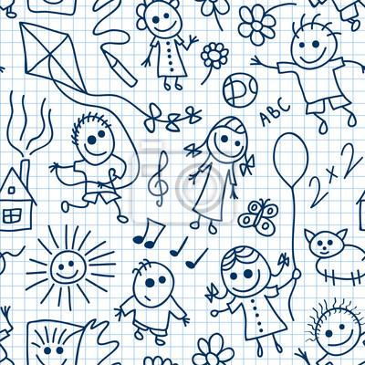 Постер Дизайнерские обои для детской Играющие дети на математическую статью. Вектор бесшовных шаблон.Дизайнерские обои для детской<br>Постер на холсте или бумаге. Любого нужного вам размера. В раме или без. Подвес в комплекте. Трехслойная надежная упаковка. Доставим в любую точку России. Вам осталось только повесить картину на стену!<br>