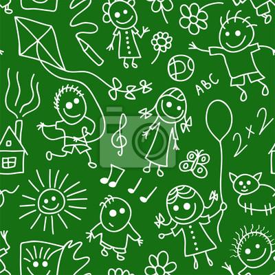 Постер Дизайнерские обои для детской Играющие дети на доске. Бесшовные шаблон.Дизайнерские обои для детской<br>Постер на холсте или бумаге. Любого нужного вам размера. В раме или без. Подвес в комплекте. Трехслойная надежная упаковка. Доставим в любую точку России. Вам осталось только повесить картину на стену!<br>