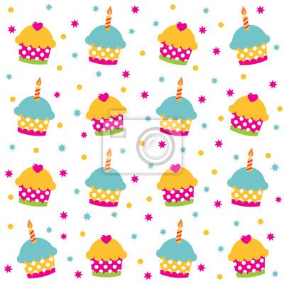 Постер Дизайнерские обои для детской День рождения бесшовных шаблонДизайнерские обои для детской<br>Постер на холсте или бумаге. Любого нужного вам размера. В раме или без. Подвес в комплекте. Трехслойная надежная упаковка. Доставим в любую точку России. Вам осталось только повесить картину на стену!<br>
