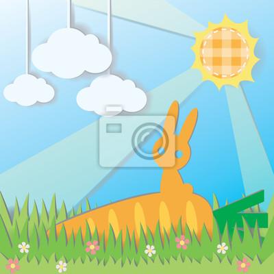 Постер Дизайнерские обои для детской Бумаги Кролик на Морковь в поле противостоянияДизайнерские обои для детской<br>Постер на холсте или бумаге. Любого нужного вам размера. В раме или без. Подвес в комплекте. Трехслойная надежная упаковка. Доставим в любую точку России. Вам осталось только повесить картину на стену!<br>