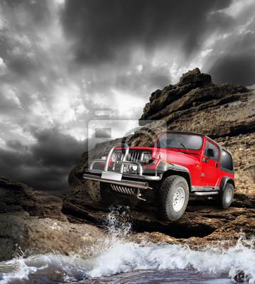 Постер Пейзаж песчаный Offroad автомобиль на горной местностиПейзаж песчаный<br>Постер на холсте или бумаге. Любого нужного вам размера. В раме или без. Подвес в комплекте. Трехслойная надежная упаковка. Доставим в любую точку России. Вам осталось только повесить картину на стену!<br>