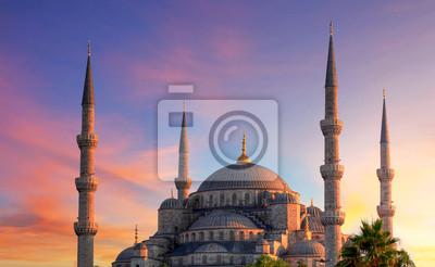 Постер Турция Стамбул - Голубая мечеть, ТурцияТурция<br>Постер на холсте или бумаге. Любого нужного вам размера. В раме или без. Подвес в комплекте. Трехслойная надежная упаковка. Доставим в любую точку России. Вам осталось только повесить картину на стену!<br>