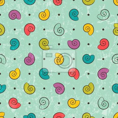 Постер Дизайнерские обои для детской Бесшовные текстуры с цветными ракушкамиДизайнерские обои для детской<br>Постер на холсте или бумаге. Любого нужного вам размера. В раме или без. Подвес в комплекте. Трехслойная надежная упаковка. Доставим в любую точку России. Вам осталось только повесить картину на стену!<br>