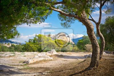 Постер Греция Красивый вид на древний Акрополь, Афины, ГрецияГреция<br>Постер на холсте или бумаге. Любого нужного вам размера. В раме или без. Подвес в комплекте. Трехслойная надежная упаковка. Доставим в любую точку России. Вам осталось только повесить картину на стену!<br>