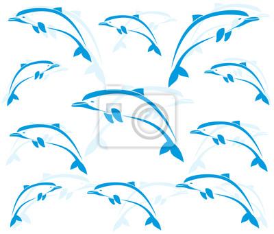 Постер Дизайнерские обои для детской Обои изображения дельфинов - векторДизайнерские обои для детской<br>Постер на холсте или бумаге. Любого нужного вам размера. В раме или без. Подвес в комплекте. Трехслойная надежная упаковка. Доставим в любую точку России. Вам осталось только повесить картину на стену!<br>