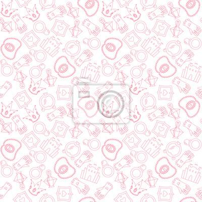 Постер Дизайнерские обои для детской Романтический цельной картины с принцессой аксессуарыДизайнерские обои для детской<br>Постер на холсте или бумаге. Любого нужного вам размера. В раме или без. Подвес в комплекте. Трехслойная надежная упаковка. Доставим в любую точку России. Вам осталось только повесить картину на стену!<br>