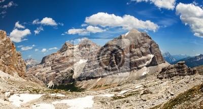 Постер Альпийский пейзаж Панорамный вид Dolomiti - Группа TofanaАльпийский пейзаж<br>Постер на холсте или бумаге. Любого нужного вам размера. В раме или без. Подвес в комплекте. Трехслойная надежная упаковка. Доставим в любую точку России. Вам осталось только повесить картину на стену!<br>