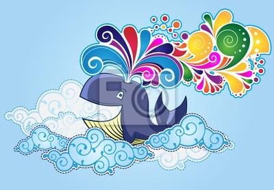 Постер Дизайнерские обои для детской Карикатурный стиль Кита, летающих в небе и лопались радужныеДизайнерские обои для детской<br>Постер на холсте или бумаге. Любого нужного вам размера. В раме или без. Подвес в комплекте. Трехслойная надежная упаковка. Доставим в любую точку России. Вам осталось только повесить картину на стену!<br>