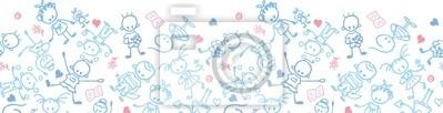 Постер Дизайнерские обои для детской Вектор играющих детей горизонтальной бесшовных узор фонаДизайнерские обои для детской<br>Постер на холсте или бумаге. Любого нужного вам размера. В раме или без. Подвес в комплекте. Трехслойная надежная упаковка. Доставим в любую точку России. Вам осталось только повесить картину на стену!<br>