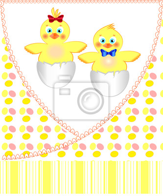 Постер Дизайнерские обои для детской Открытка от кур для новорожденных близнецовДизайнерские обои для детской<br>Постер на холсте или бумаге. Любого нужного вам размера. В раме или без. Подвес в комплекте. Трехслойная надежная упаковка. Доставим в любую точку России. Вам осталось только повесить картину на стену!<br>