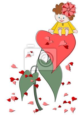 Постер Дизайнерские обои для детской Милая девочка с красным сердцем - Валентин иллюстрацииДизайнерские обои для детской<br>Постер на холсте или бумаге. Любого нужного вам размера. В раме или без. Подвес в комплекте. Трехслойная надежная упаковка. Доставим в любую точку России. Вам осталось только повесить картину на стену!<br>