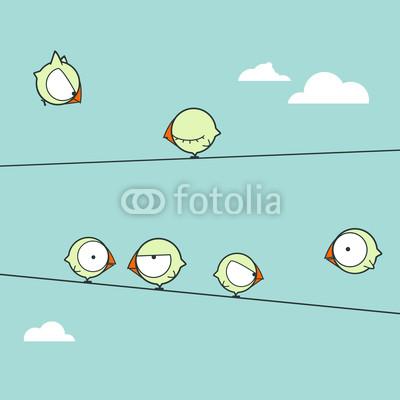Постер Дизайнерские обои для детской Смешные птицы на веревке. Векторные иллюстрацииДизайнерские обои для детской<br>Постер на холсте или бумаге. Любого нужного вам размера. В раме или без. Подвес в комплекте. Трехслойная надежная упаковка. Доставим в любую точку России. Вам осталось только повесить картину на стену!<br>