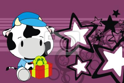 """Постер Дизайнерские обои для детской """"Корова подарок ребенку мультфильм фона"""""""