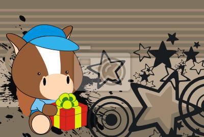Постер Дизайнерские обои для детской Лошадь подарок ребенку мультфильм фонаДизайнерские обои для детской<br>Постер на холсте или бумаге. Любого нужного вам размера. В раме или без. Подвес в комплекте. Трехслойная надежная упаковка. Доставим в любую точку России. Вам осталось только повесить картину на стену!<br>