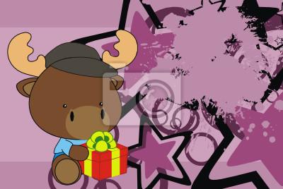 """Постер Дизайнерские обои для детской """"Олени подарок ребенку мультфильм фона"""""""