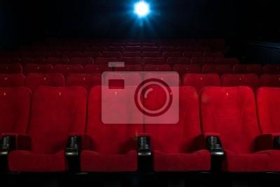 Постер Кино Пустой удобные красные кресла с числами в киноКино<br>Постер на холсте или бумаге. Любого нужного вам размера. В раме или без. Подвес в комплекте. Трехслойная надежная упаковка. Доставим в любую точку России. Вам осталось только повесить картину на стену!<br>