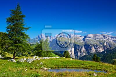 Постер Альпийский пейзаж Доломиты пейзажАльпийский пейзаж<br>Постер на холсте или бумаге. Любого нужного вам размера. В раме или без. Подвес в комплекте. Трехслойная надежная упаковка. Доставим в любую точку России. Вам осталось только повесить картину на стену!<br>