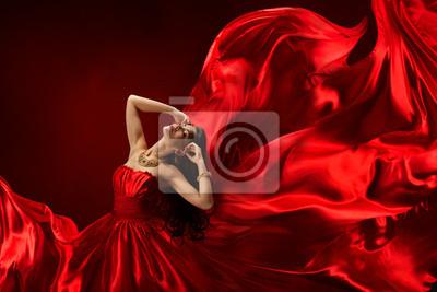 Женщина в красном платье, дующий с летящие ткани, 30x20 см, на бумагеГламур<br>Постер на холсте или бумаге. Любого нужного вам размера. В раме или без. Подвес в комплекте. Трехслойная надежная упаковка. Доставим в любую точку России. Вам осталось только повесить картину на стену!<br>