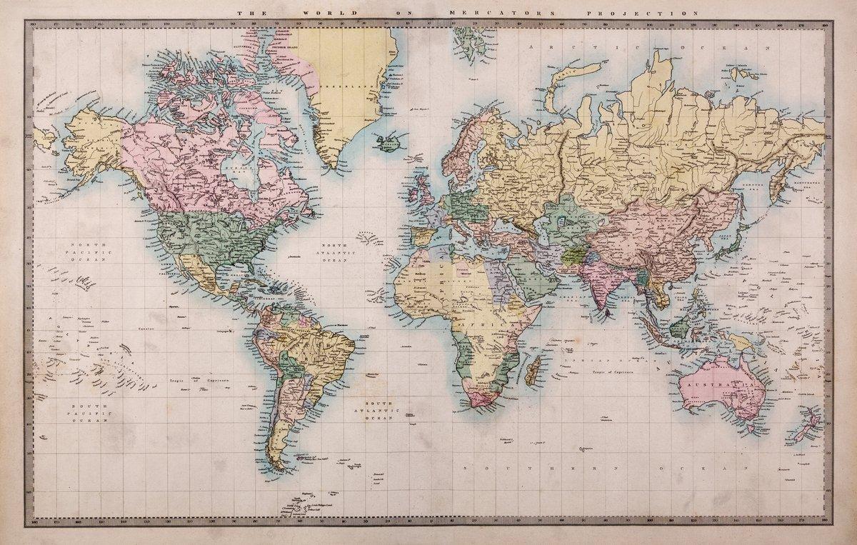 Постер Современные карты мира Старая Античная карта мира на Mercators проекцииСовременные карты мира<br>Постер на холсте или бумаге. Любого нужного вам размера. В раме или без. Подвес в комплекте. Трехслойная надежная упаковка. Доставим в любую точку России. Вам осталось только повесить картину на стену!<br>