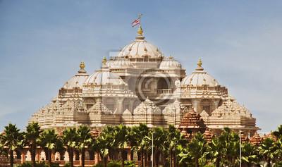 Постер Индия Фасад храма, Akshardham, Дели, ИндияИндия<br>Постер на холсте или бумаге. Любого нужного вам размера. В раме или без. Подвес в комплекте. Трехслойная надежная упаковка. Доставим в любую точку России. Вам осталось только повесить картину на стену!<br>