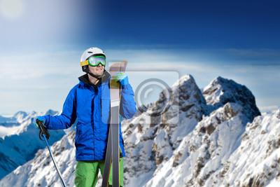 Постер Альпийский пейзаж ЛыжникАльпийский пейзаж<br>Постер на холсте или бумаге. Любого нужного вам размера. В раме или без. Подвес в комплекте. Трехслойная надежная упаковка. Доставим в любую точку России. Вам осталось только повесить картину на стену!<br>