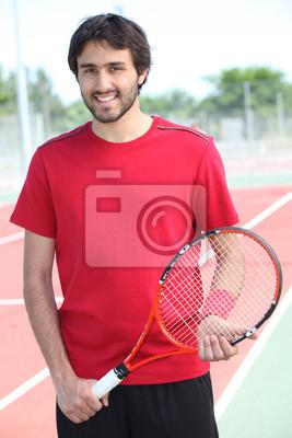 Случайный теннис игрок, стоящий на жестком суд, 20x30 см, на бумагеБольшой теннис<br>Постер на холсте или бумаге. Любого нужного вам размера. В раме или без. Подвес в комплекте. Трехслойная надежная упаковка. Доставим в любую точку России. Вам осталось только повесить картину на стену!<br>