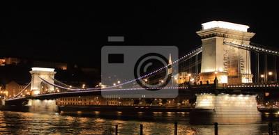 Постер Венгрия Цепной Мост ночью в Будапеште, ВенгрияВенгрия<br>Постер на холсте или бумаге. Любого нужного вам размера. В раме или без. Подвес в комплекте. Трехслойная надежная упаковка. Доставим в любую точку России. Вам осталось только повесить картину на стену!<br>