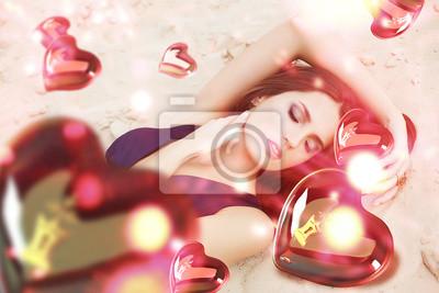 Постер Деятельность Святой Валентин день женщина на песке, с развевающимися сердца, 30x20 см, на бумагеГламур<br>Постер на холсте или бумаге. Любого нужного вам размера. В раме или без. Подвес в комплекте. Трехслойная надежная упаковка. Доставим в любую точку России. Вам осталось только повесить картину на стену!<br>