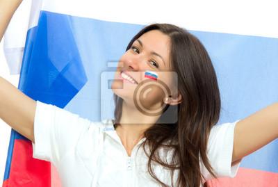 Счастливый российский футбольный болельщик с российским национальным флагом, 30x20 см, на бумаге08.22 День государственного флага Российской Федерации<br>Постер на холсте или бумаге. Любого нужного вам размера. В раме или без. Подвес в комплекте. Трехслойная надежная упаковка. Доставим в любую точку России. Вам осталось только повесить картину на стену!<br>