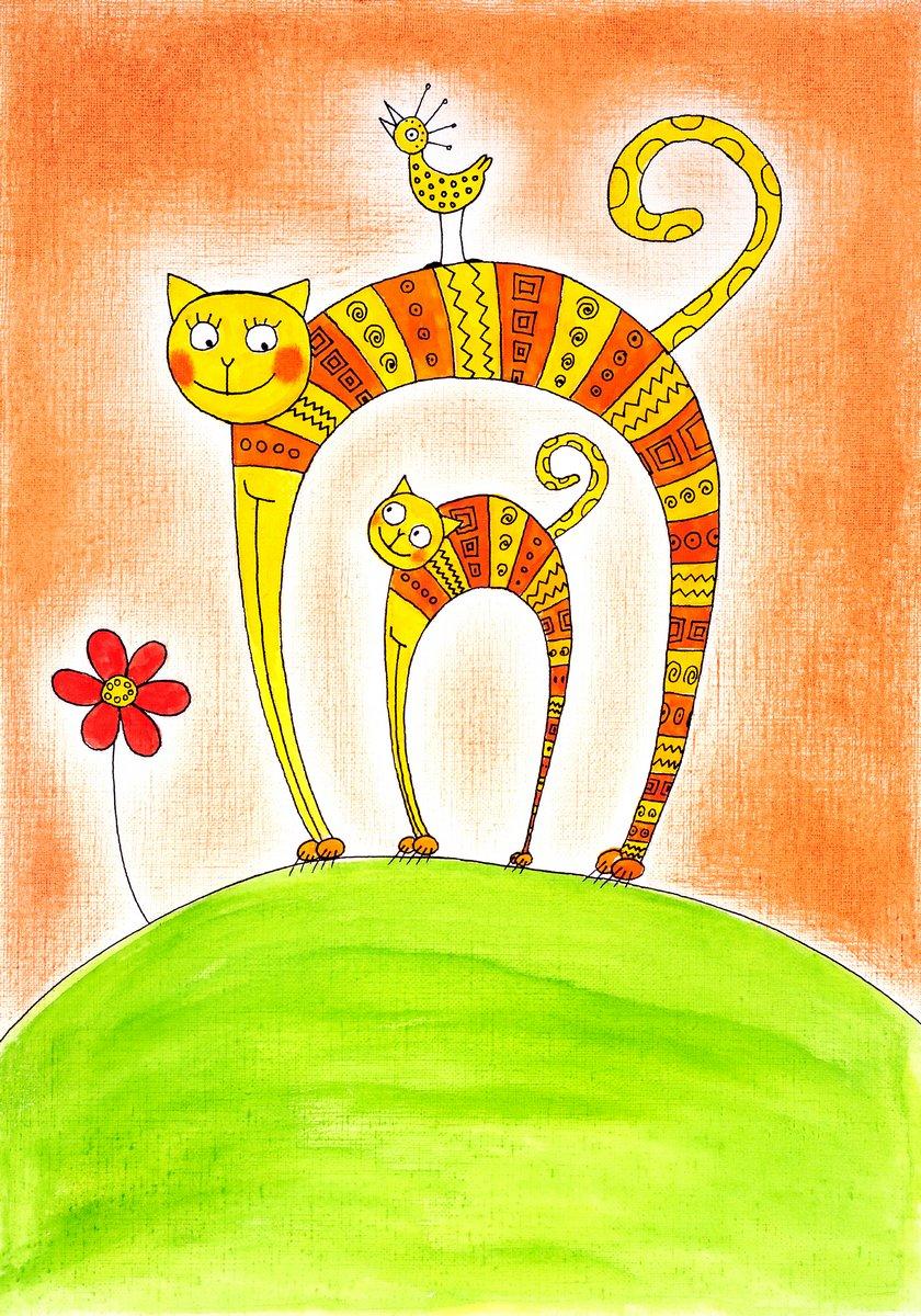 Постер Кошки Кошка и котенок, детский рисунок, акварельная живопись на бумагеКошки<br>Постер на холсте или бумаге. Любого нужного вам размера. В раме или без. Подвес в комплекте. Трехслойная надежная упаковка. Доставим в любую точку России. Вам осталось только повесить картину на стену!<br>